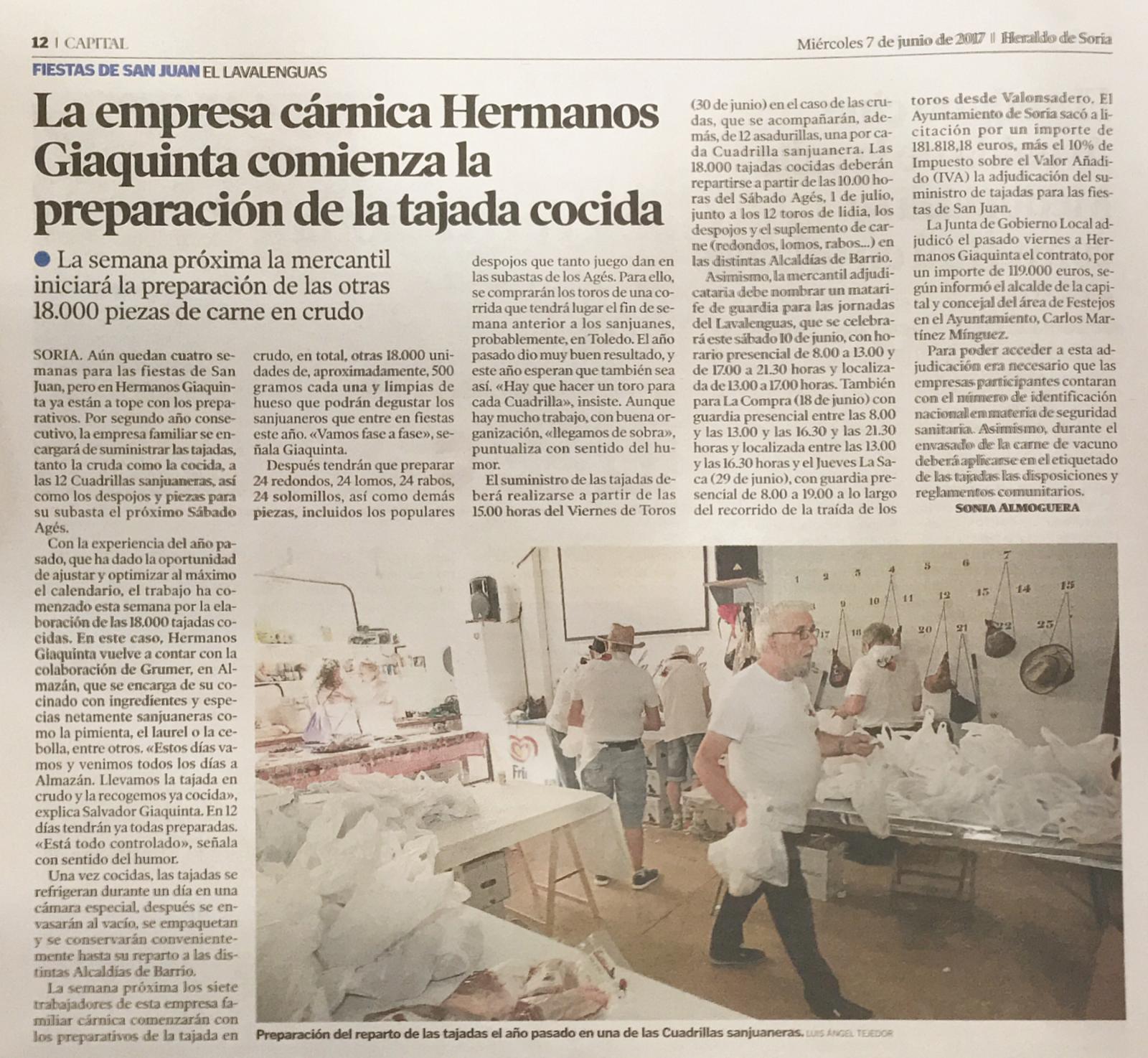 La empresa cárnica Hermanos Giaquinta comienza la preparación de la tajada cocida
